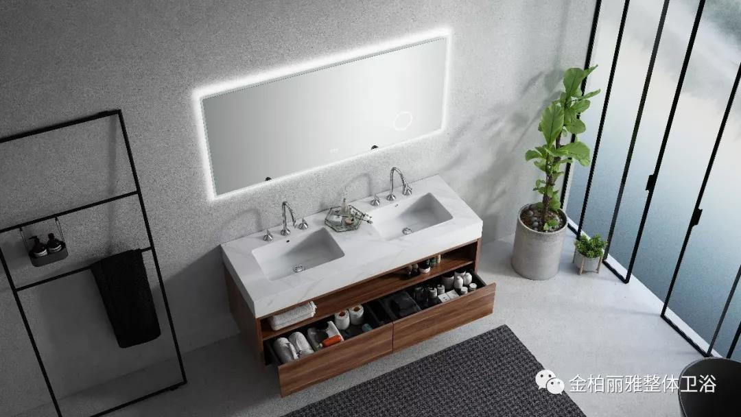 新品丨智能岩板浴室柜:行云流水 朦胧烟雨间